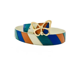 The Chevron Reversible Leather Belt is Composed of Individually Hand Cut Pieces of Leather. Elizabeth Sutton Collection.