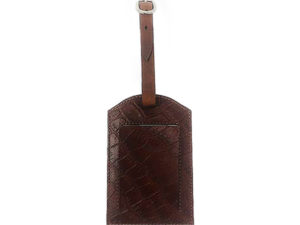 Beautiful Luggage Tag for Men. Brown Croc Embossed. Finest Quality Italian Leather, Luggage Tag Handmade in Mexico City. Elizabeth Sutton.